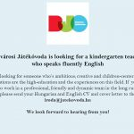 Belvárosi Játékóvoda is looking for a kindergarten teacher